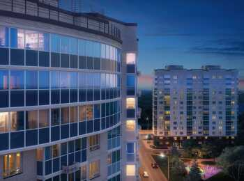 Вид на жилой комплекс Внуково 2017 в ночное время